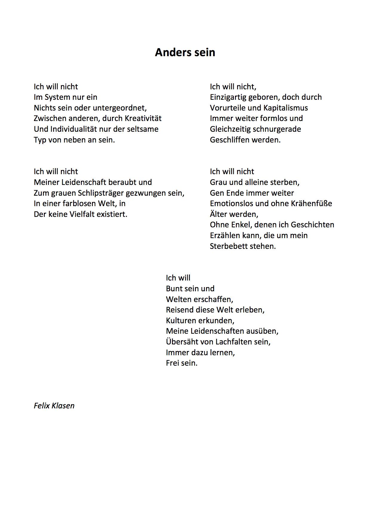 Persönlichkeit Mal Lyrisch Verpackt Gedichte Von Schülerinnen Der